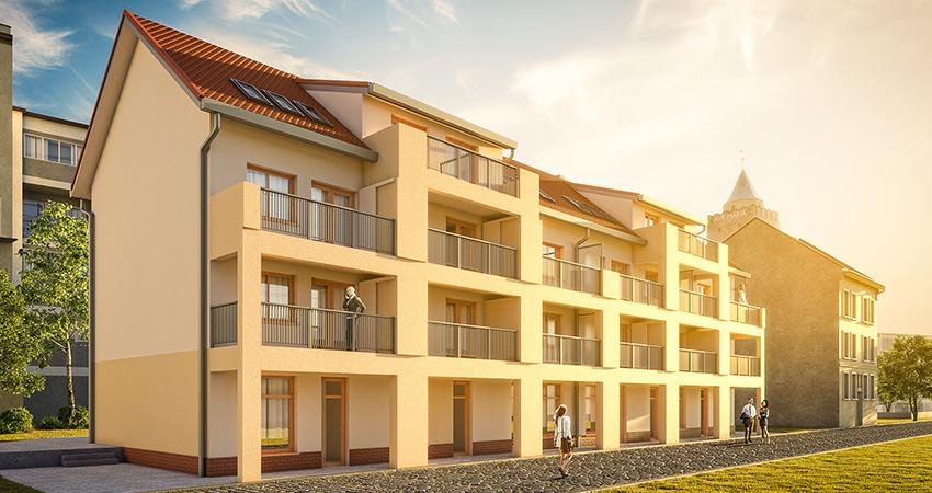 wielorodzinny budynek mieszkalny z prefabrykatów keramzytowych w chojnowie